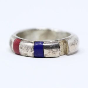 REPAIR Sterling Silver Lapis Coral Band Ring 8.75